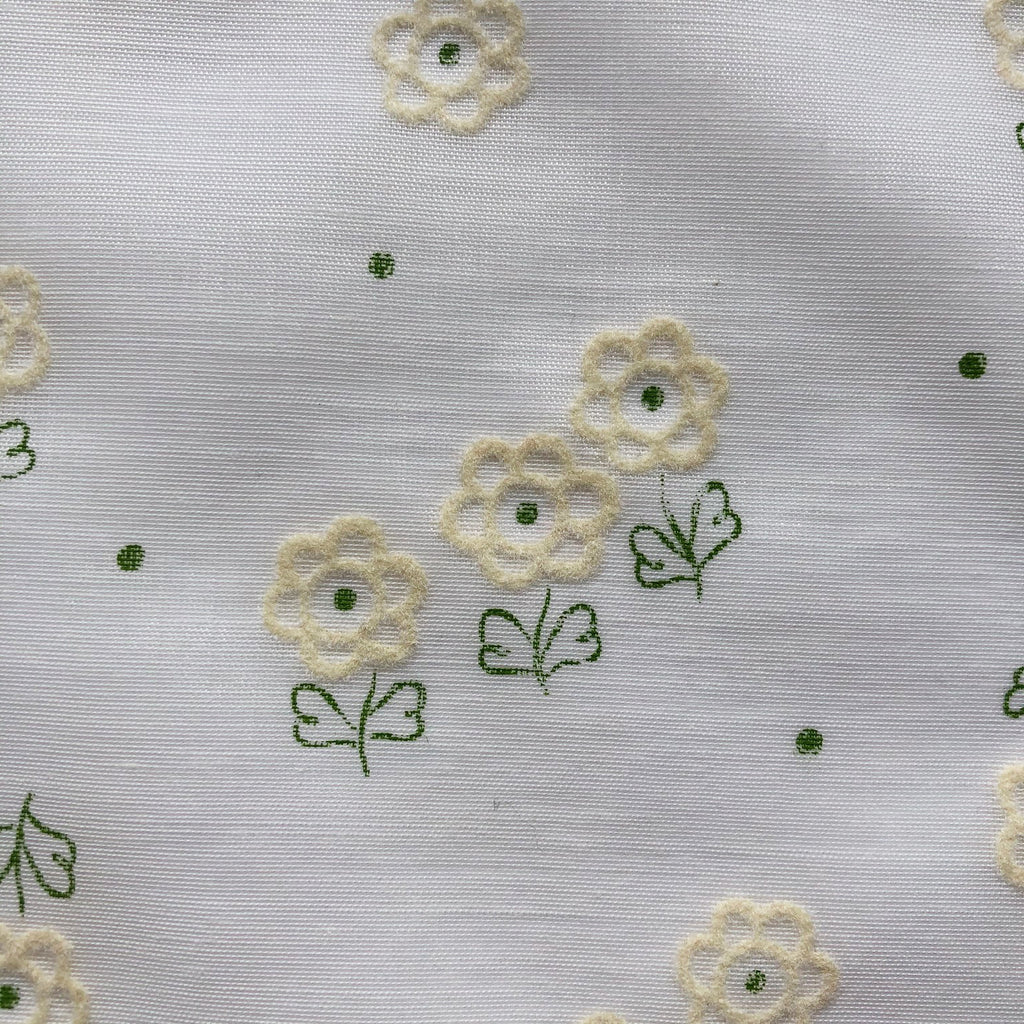Custom Vintage Item - White Flocked Flowers