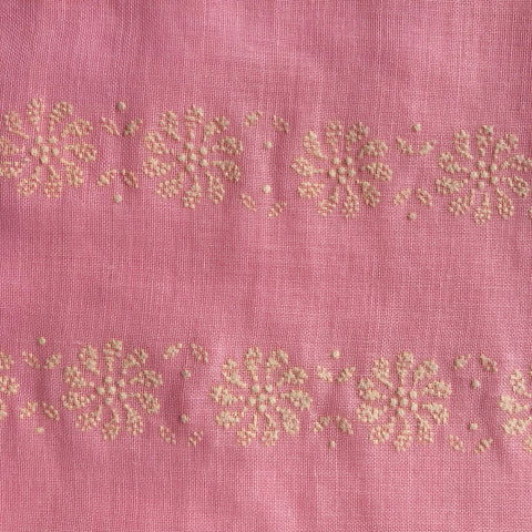 Custom Vintage Item - Sheer Pink Roses with Flocked Swiss Dots