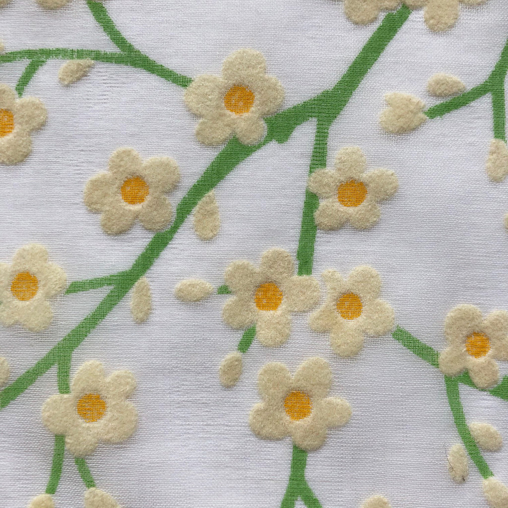 Custom Vintage Item - Flocked Daisy Vines