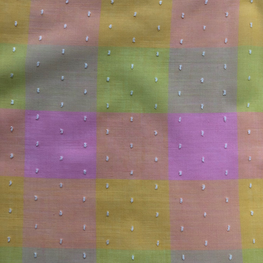 Custom Vintage Item - Rainbow Swiss Dot Plaid