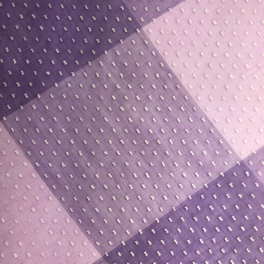 Custom Vintage Item - Lilac plaid with Swiss Dots