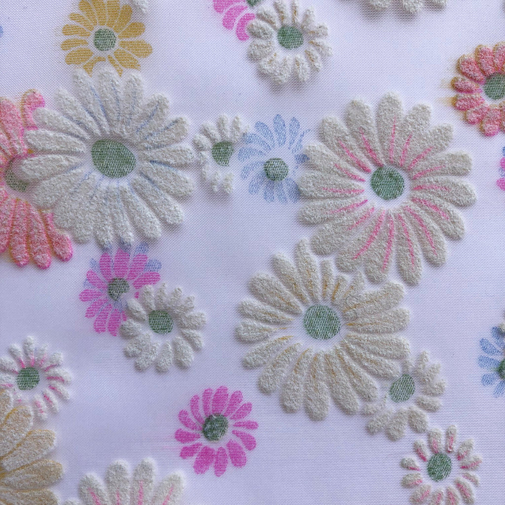 Custom Vintage Item - Flocked Daisy Blooms