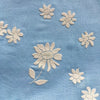 Custom Vintage Item - Sky Blue Flocked Daisies