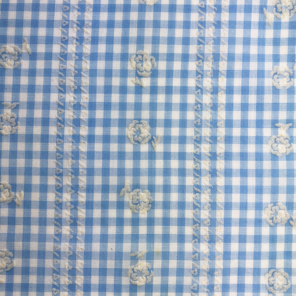 Custom Vintage Item - Dorothy Blue Gingham & Flocked Flowers
