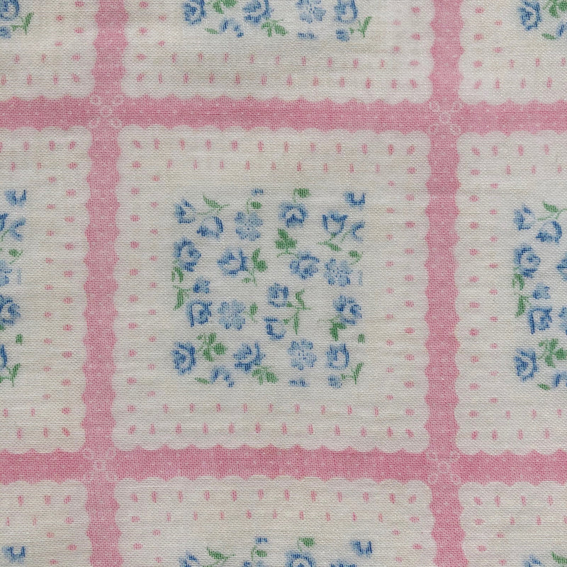 Custom Vintage Item - Floral Scalloped Squares