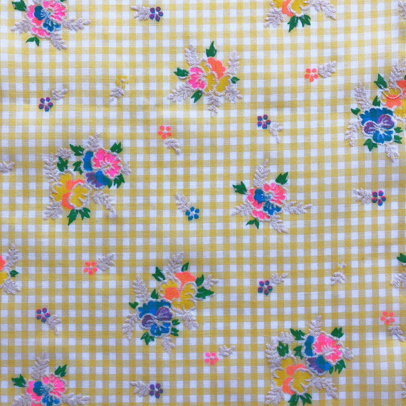 Custom Vintage Item - Rainbow Flocked Gingham
