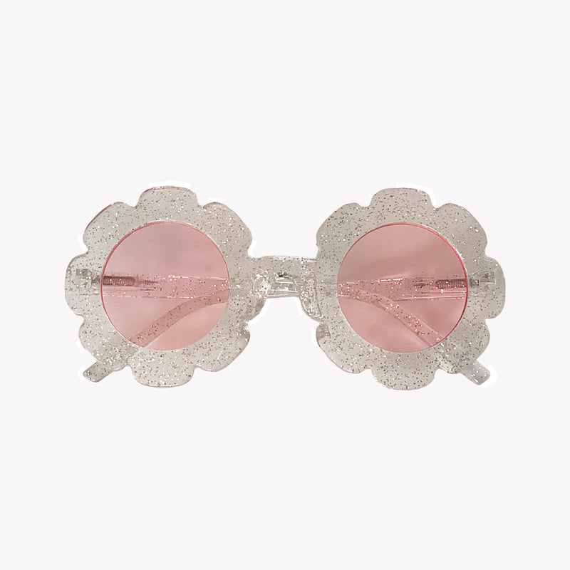 Clear Glitter Flower Sunglasses