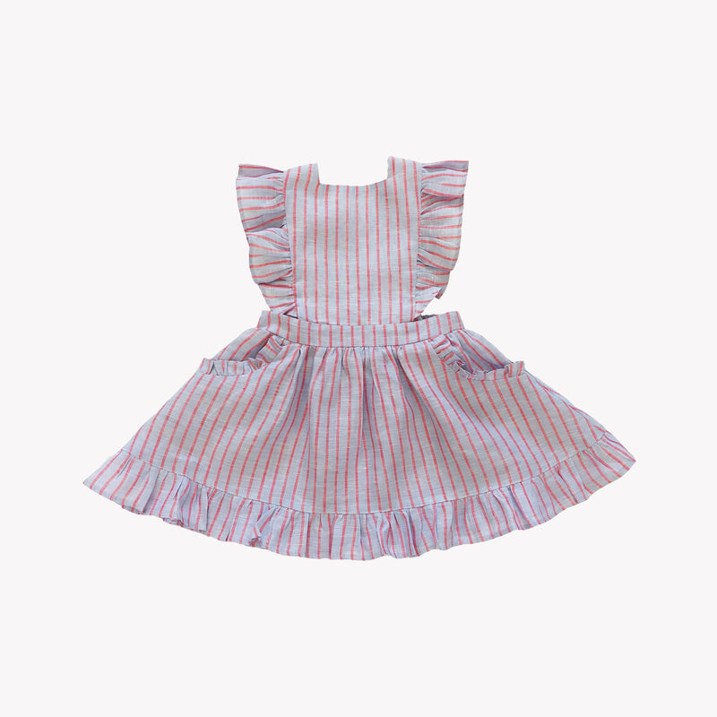 Colette Striped Linen Pinafore Dress