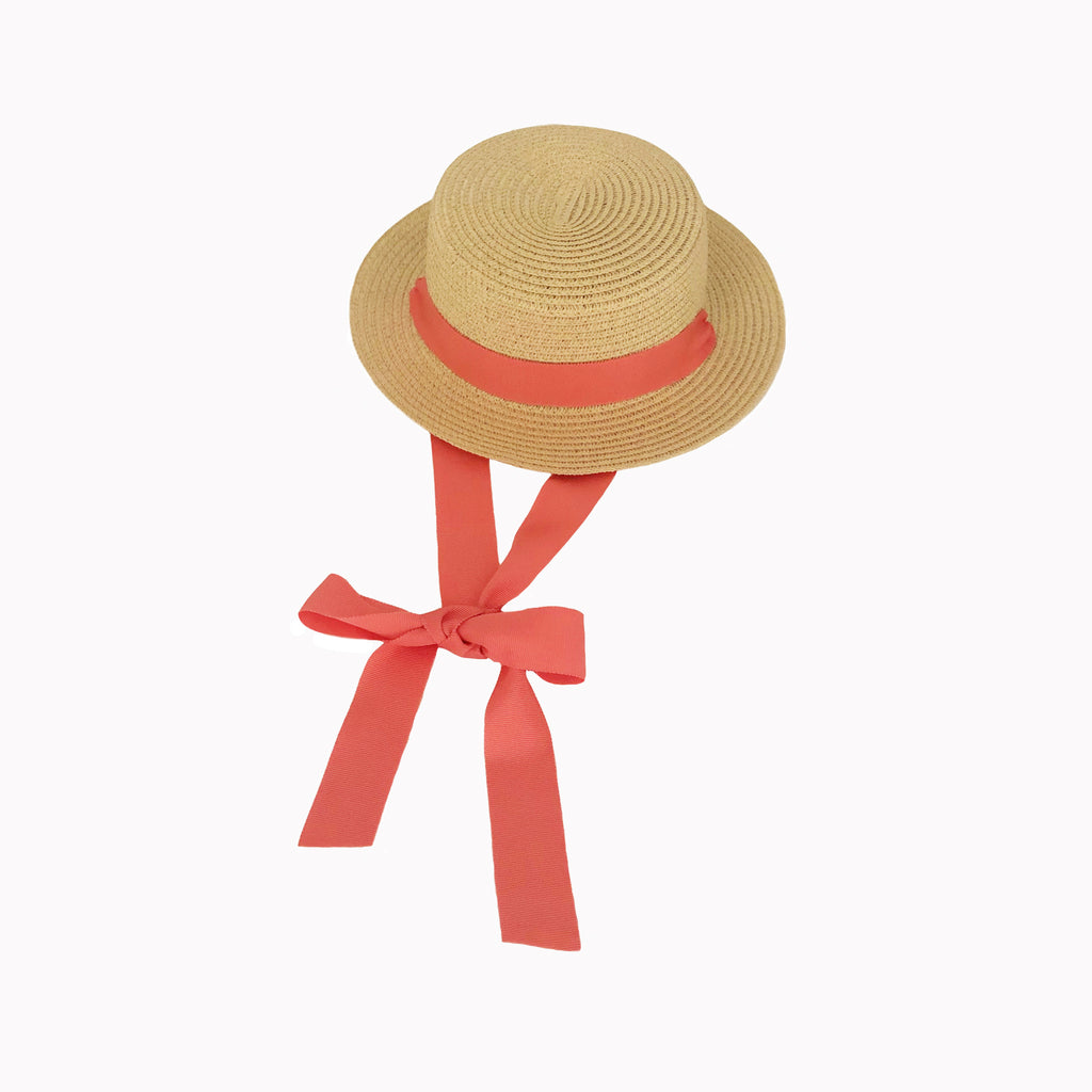 Blonde Straw Hat with Peony Pink Ribbon Tie
