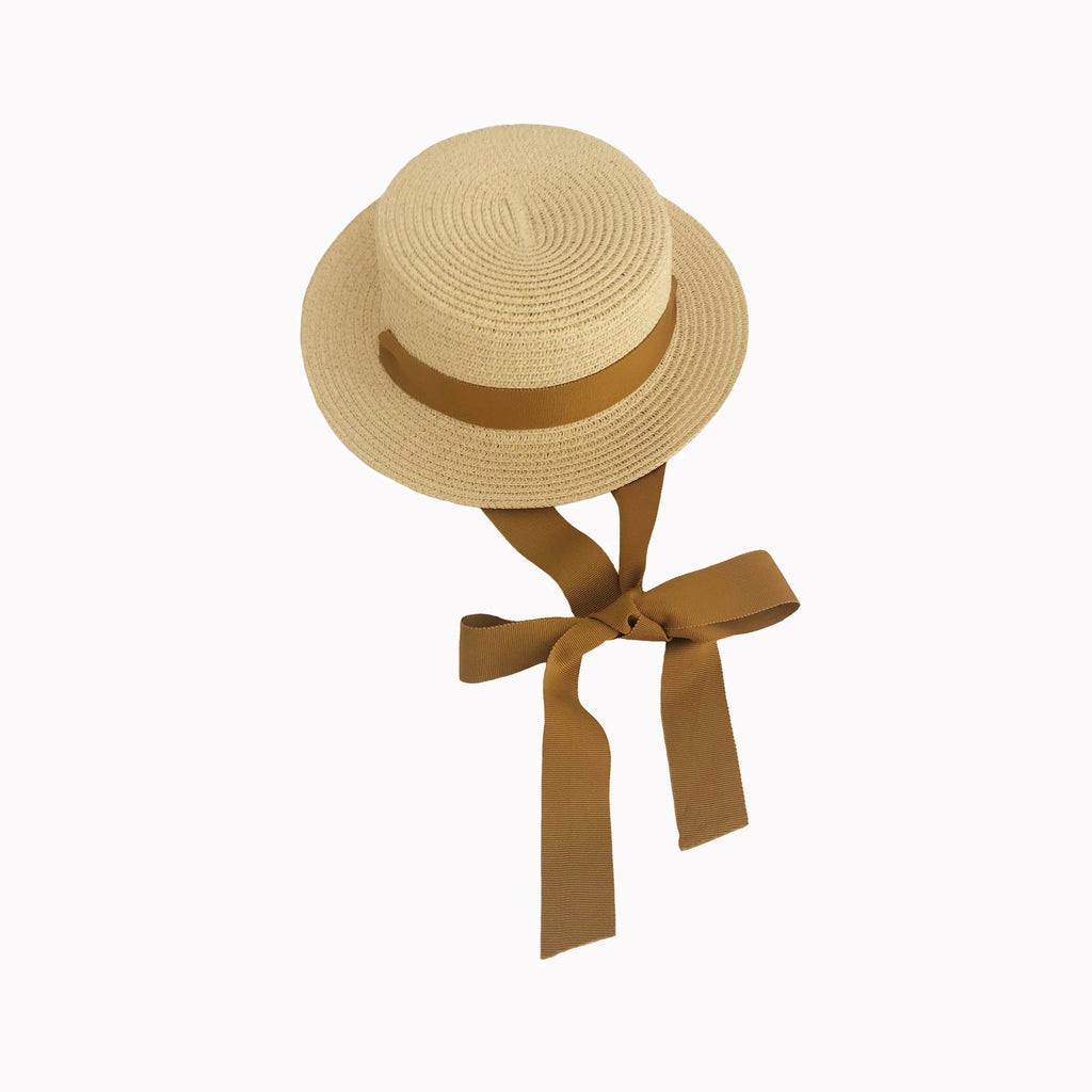 Blonde Straw Hat with Tawny Ribbon Tie