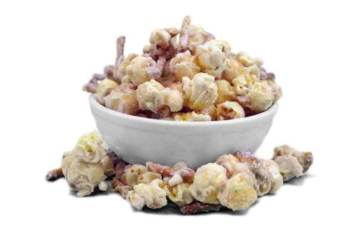 Whether you have a sweet tooth, craving something salty, a fan of white chocolate or just love popcorn, we have a flavor for you! Featuring our sweet popcorn, mixed with peanuts and pretzels and all coated in white chocolate! Discover the flavor that everyone is talking about