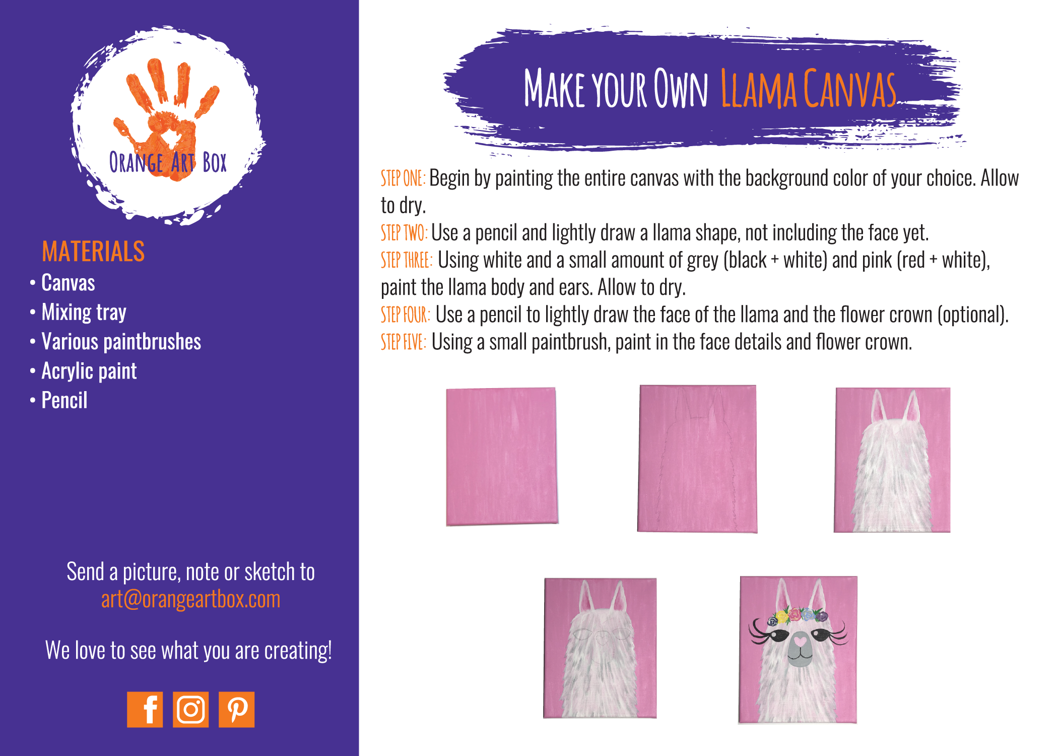 Llama Canvas - DIY Step by Step