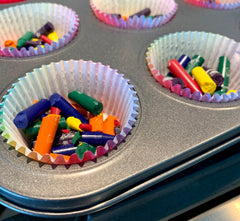 Place crayons in a muffin tin