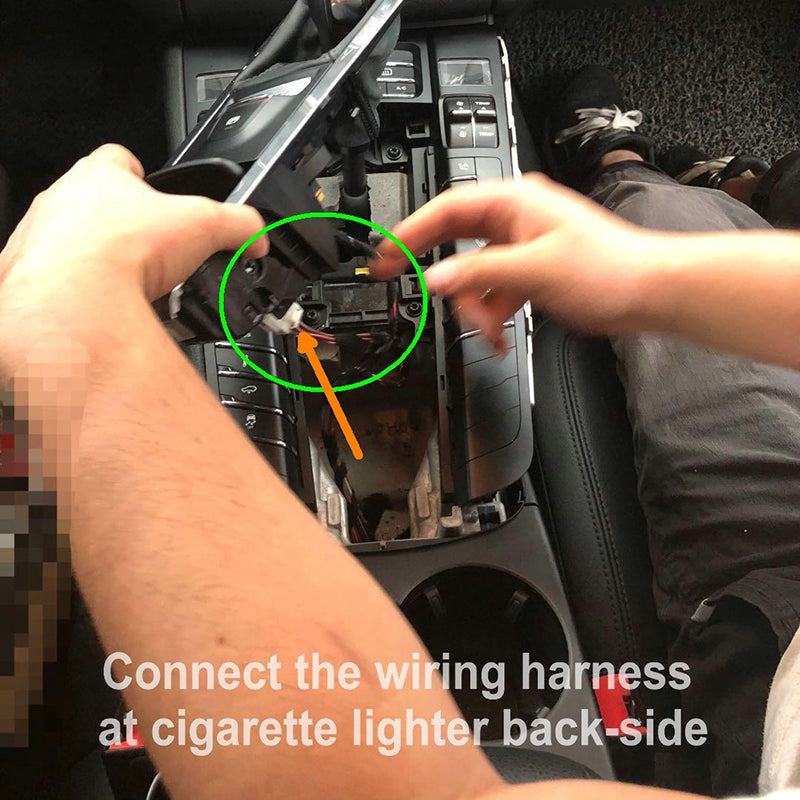 2- Connect the wiring harness at cigarette lighter back-side