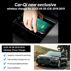 CarQiWireless Wireless Charger for Audi A6 S6 (C8) 2018-2019, Special Phone Charging Accessories