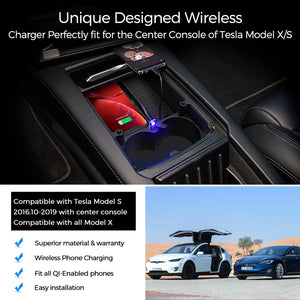 Tesla Model S / X Wireless Charging Tray Storage Box 2016 2017 2018 2019 2020