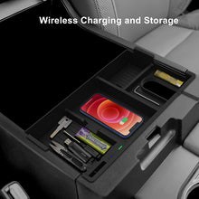 Load image into Gallery viewer, CarQiWireless Wireless Charger for Toyota Tundra & Sequoia Accessories 2007-2021, Wireless Charging Pad Armrest Insert Storage Box Container Tray for Tundra & Sequoia Accessories 2007-2021