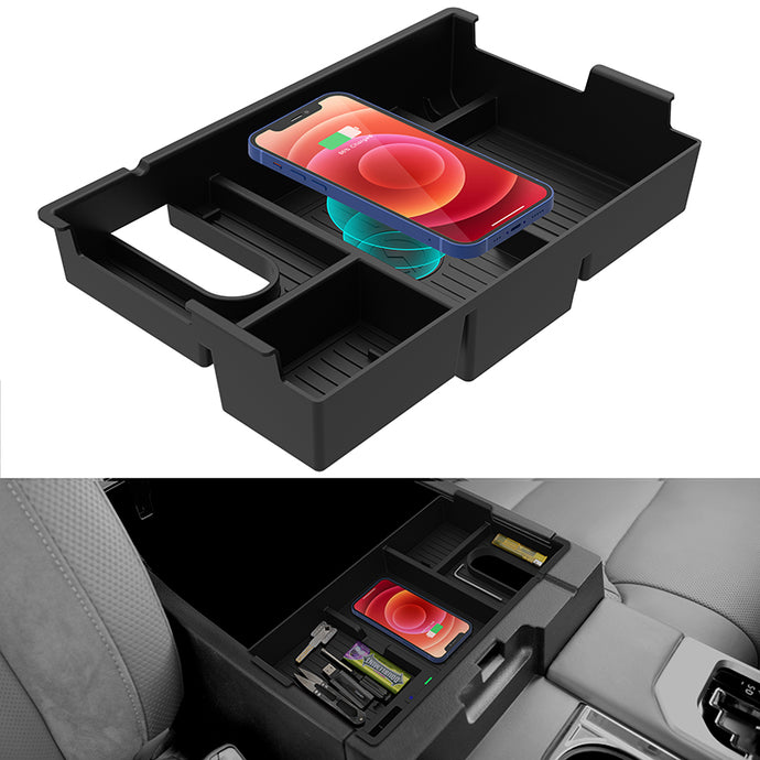 CarQiWireless Wireless Charger for Toyota Tundra & Sequoia Accessories 2007-2021, Wireless Charging Pad Armrest Insert Storage Box Container Tray for Tundra & Sequoia Accessories 2007-2021