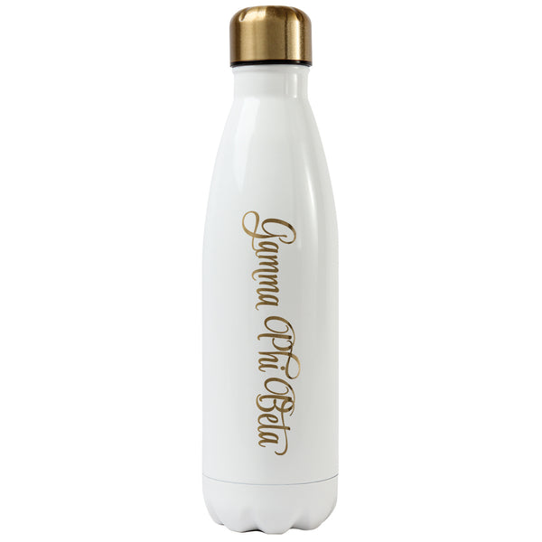 White and Gold Water Bottle - Crescent Corner - Gamma Phi Beta Official Online Store