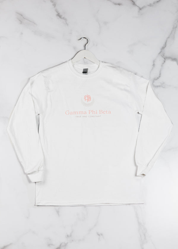 White Branded Long Sleeve - Crescent Corner - Gamma Phi Beta Official Online Store