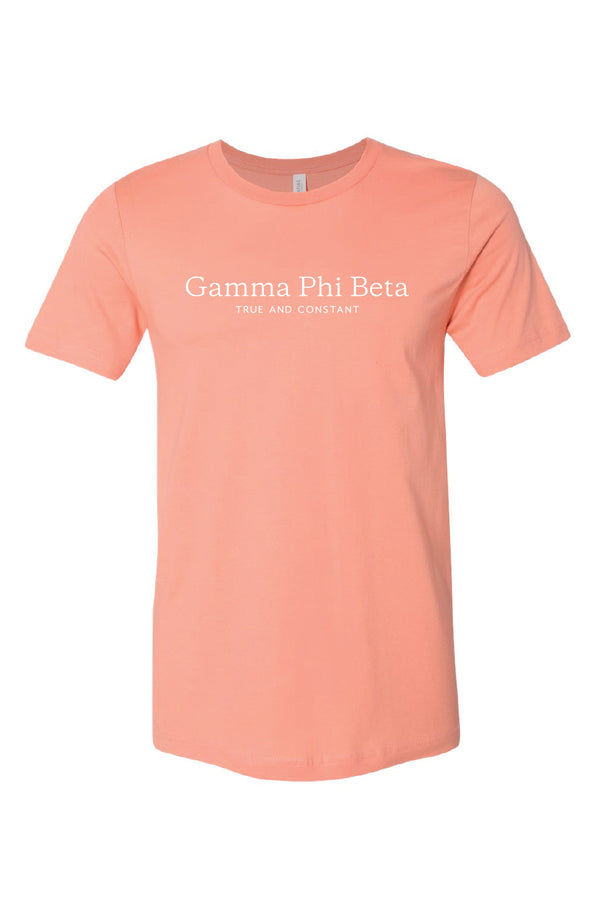 Peach True and Constant Tee - Crescent Corner - Gamma Phi Beta Official Online Store