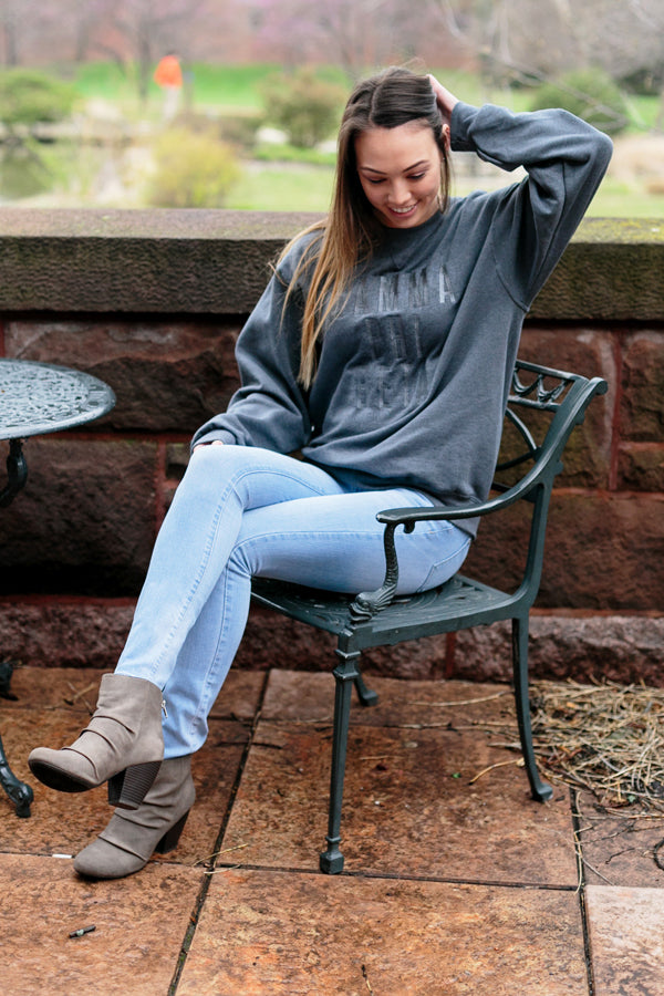 Charcoal Tone on Tone Sweatshirt - Crescent Corner - Gamma Phi Beta Official Online Store