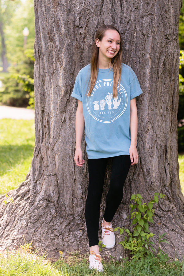 Ice Blue Cactus Shirt - Crescent Corner - Gamma Phi Beta Official Online Store