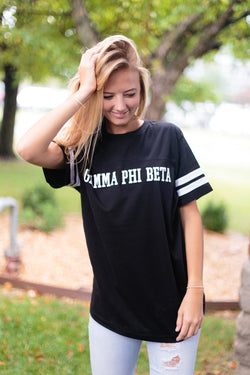 Black Striped Sleeve Shirt - Crescent Corner - Gamma Phi Beta Official Online Store