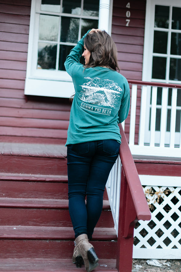 Blue Spruce Long Sleeve T - Crescent Corner - Gamma Phi Beta Official Online Store