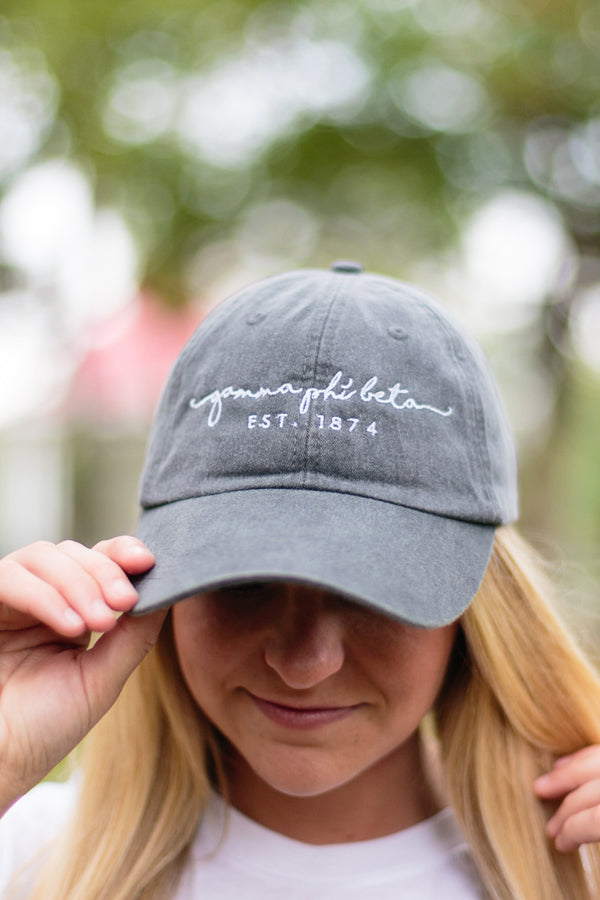 Script Established Hat - Crescent Corner - Gamma Phi Beta Official Online Store