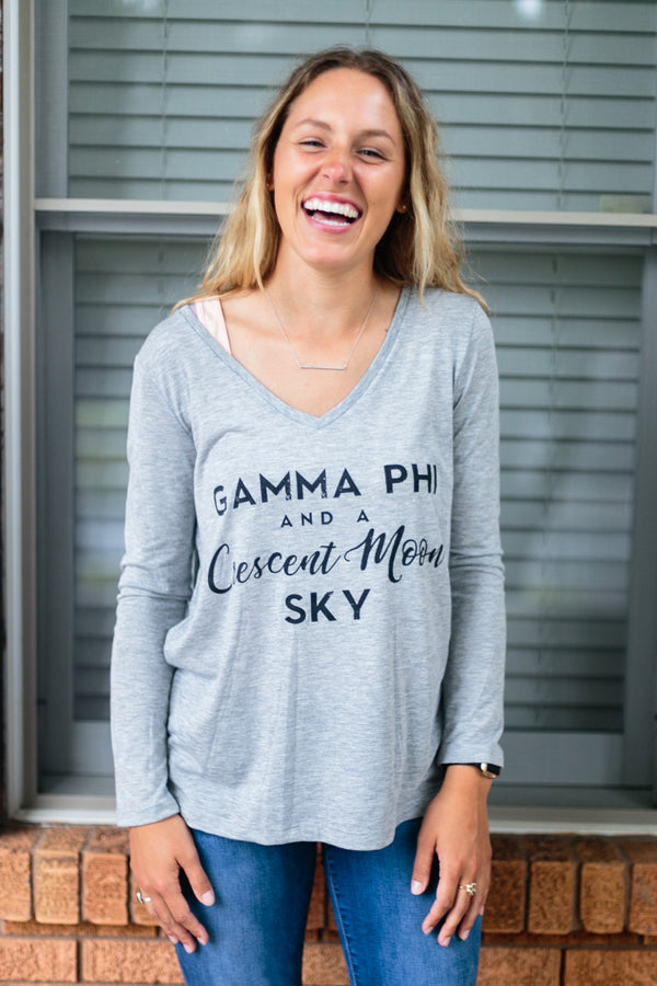 Flowy Long Sleeve V-neck - Crescent Corner - Gamma Phi Beta Official Online Store