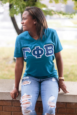 Deep Teal Lettered V-neck - Crescent Corner - Gamma Phi Beta Official Online Store