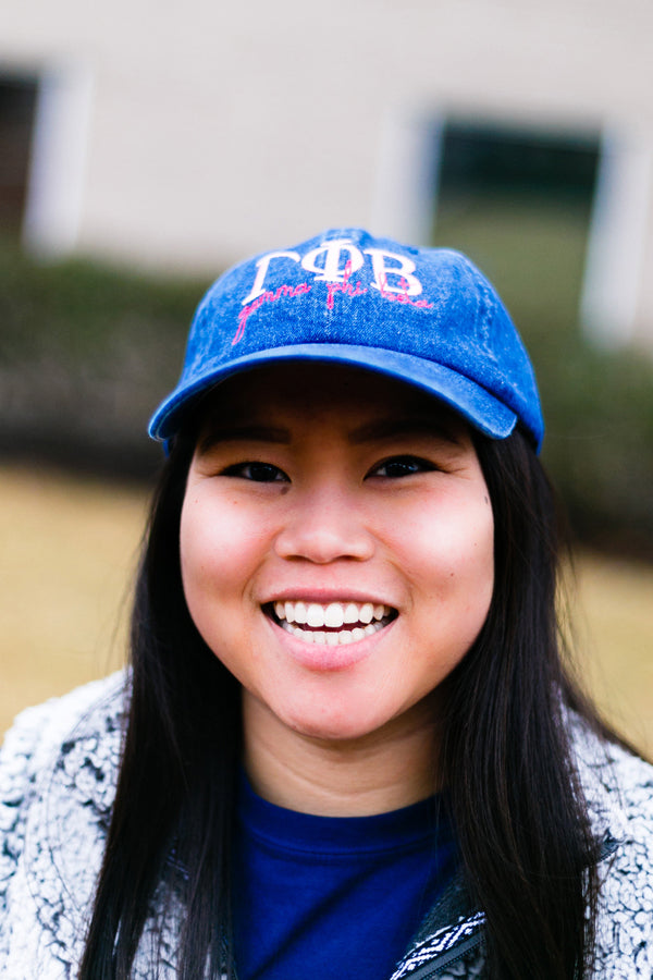 Script in Hand Denim Cap - Crescent Corner - Gamma Phi Beta Official Online Store