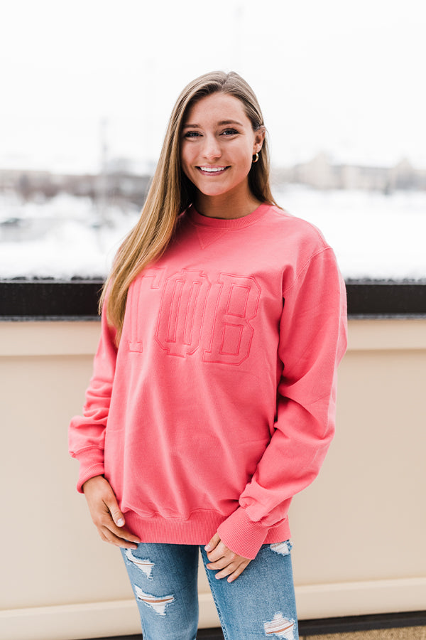 Old School Embroidered Sweatshirt - Crescent Corner - Gamma Phi Beta Official Online Store