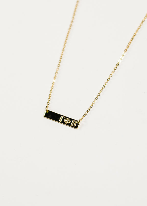 Gold Plated Greek Letter Bar Necklace - Crescent Corner - Gamma Phi Beta Official Online Store