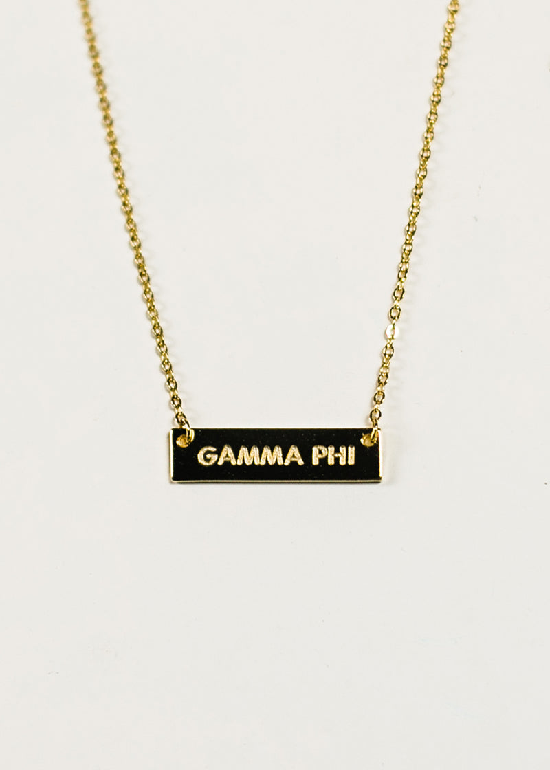 Gold Plated GAMMA PHI Bar Necklace - Crescent Corner - Gamma Phi Beta Official Online Store