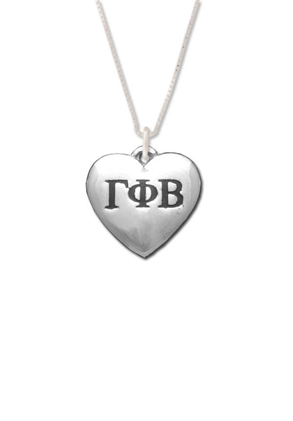 Puffed Heart Letters Necklace - Crescent Corner - Gamma Phi Beta Official Online Store