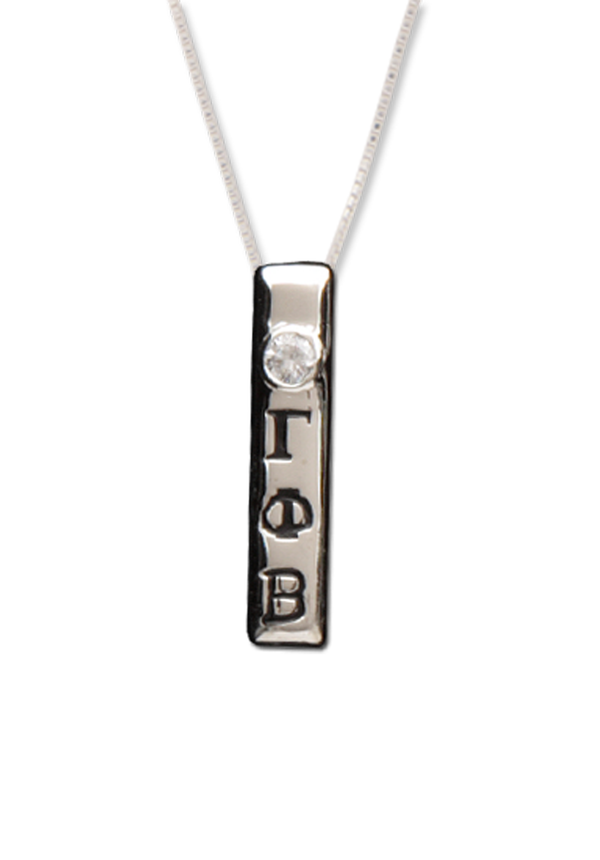 Vertical Letters Necklace - Crescent Corner - Gamma Phi Beta Official Online Store