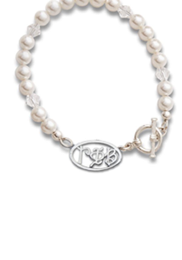Whimsy Letters Pearl Bracelet - Crescent Corner - Gamma Phi Beta Official Online Store
