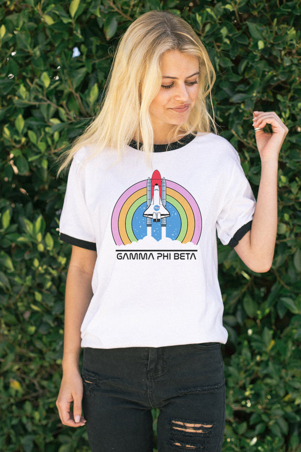 Lift Off Ringer Tee - Crescent Corner - Gamma Phi Beta Official Online Store