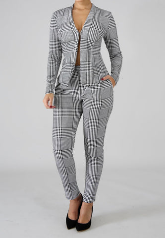 Hounds Tooth Blazer - Pants Set