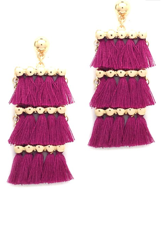 Yuna Fuchsia Tassel Earrings