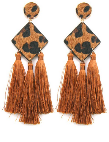 Leopard Print Tassel Earrings