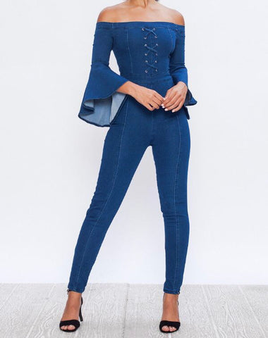 Ella Off Shoulder Denim Jumpsuit