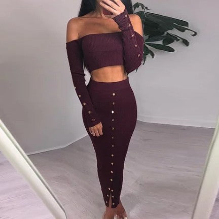 Wine Knit Skirt Set
