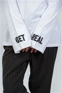 """Get Real"" Long Sleeve Oversized Shirt"