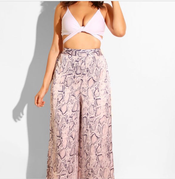 Relaxed Pink Snake Print Pant