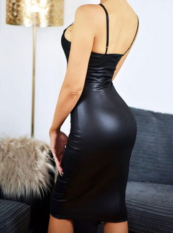 Black Wet Look Dress