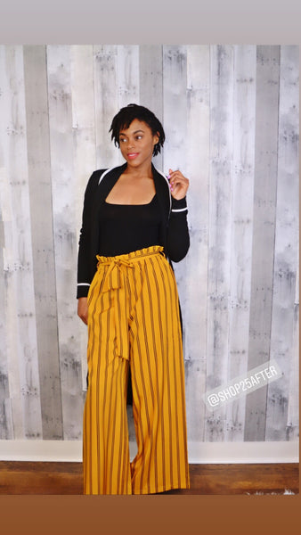 Mustard/Black Striped Wide Leg Pants