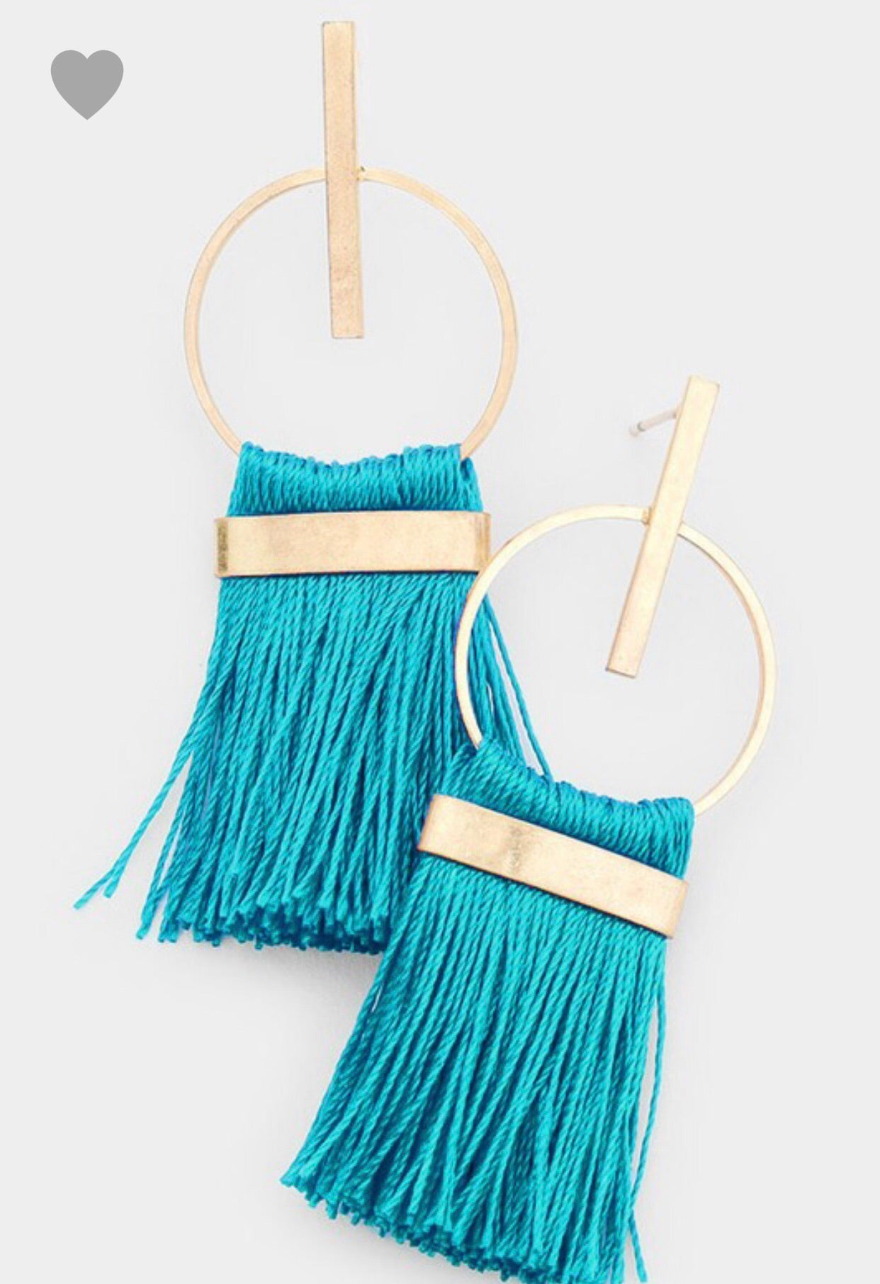 Modern Teal Tassel Earrings